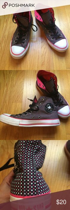 Awesome patterned hi top Converse Unique high top sneakers dotted with tiny pink and white stars. Pink trim and lining. Sadly just slightly too big for me to wear comfortably, so I must give them up. Great condition, well-made and a guaranteed stand-out. Sized 7 in converse (women's 9) Converse Shoes Sneakers