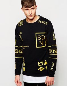 """Sweatshirt by Serge DeNimes Soft-touch sweat Crew neck Signature print Embroidered logo Ribbed trims Regular fit - true to size Machine wash 100% Cotton Our model wears a size Medium and is 188cm/6'2"""" tall"""