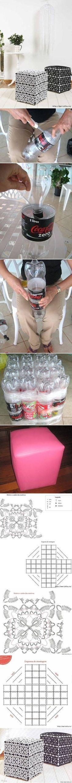 DIY Ottoman hecho de botellas plásticas. Reciclaje.