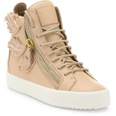 Giuseppe Zanotti Winged Leather Side-Zip Hi-Top Sneakers ($1,175) ❤ liked on Polyvore featuring shoes, sneakers, apparel & accessories, zipper sneakers, high top platform sneakers, lace up shoes, leather high top sneakers and platform sneakers