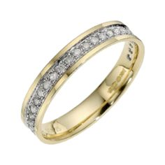 9ct Yellow Gold with Rhodium Accent Diamond3.5mm Eternity Wedding Ring