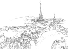 line drawing city street - Google Search