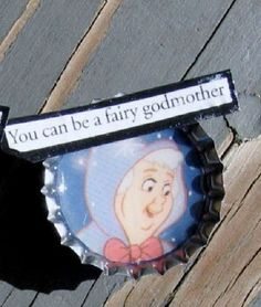 You can be a fairy godmother - recycled junk mail bottlecap magnet Domino Art, Trash Art, Junk Mail, Grimm Fairy Tales, Fairy Godmother, Game Pieces, Pumpkin Decorating, Recycled Crafts, Paper Dolls