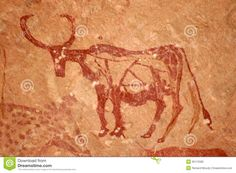 Cave painting of Bull - Tadrart Acacus Mountains, West Sahara, Libya   UNESCO World Heritage Site