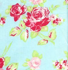 Such a pretty pink rose & aqua fabric