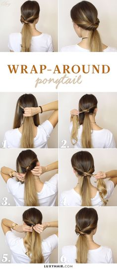 wrap around ponytail easy hairstyle luxy hair The most beautiful hair ideas, the most trend hairstyl Cute Ponytails, Simple Ponytails, Ponytail Easy, Hair Ponytail, Heatless Hairstyles, Diy Hairstyles, Easy Hairstyle, Simple Hairstyles, Hairstyle Tutorials