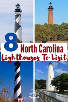 8 North Carolina Lighthouses You Can Visit. Climb all but one of these east coast light houses. Rich history dating back to the late 1700's and how the Civil War affected some of the East Coast lighthouses. #lighthouse #lighthouses #explorethesouth #southeasternustravel Southport North Carolina, North Carolina Coast, North Carolina Vacations, Carolina Beach, North Carolina History, East Coast Lighthouses, Nc Lighthouses, North Carolina Lighthouses, Oak Island Lighthouse