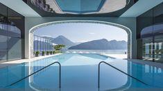 Indoor/Outdoor pool at the beautiful Park Hotel Vitznau, Switzerland