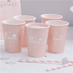 Ginger Ray Pink And Silver Foiled Princess Party Paper Cups Princess Party Supplies, Princess Party Games, Pink Princess Party, Princess Birthday Party Decorations, Princess Theme, Baby Shower Princess, Party Themes, Décoration Baby Shower, Crown Decor