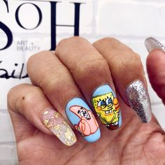 Where's all my spongebob fans at? Hand painted nails by the best in the game 🙌🏽😍 Cute Acrylic Nails, Cute Nails, Pretty Nails, My Nails, Beautiful Birthday Wishes, Disney Nails, Birthday Nails, Nail Inspo, Spongebob