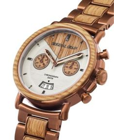 085ea25c5 Original Grain Mens Chronograph Reclaimed Whiskey Barrel Wood in Espresso  Stainless Steel 44mm Watch - White