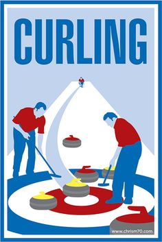 Curling Poster via Olympic Curling, Curls Rock, Olympic Gold Medals, Highland Games, Art Deco Posters, Olympic Sports, Flower Coloring Pages, Art Graphique, Winter Olympics