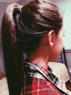 This is a cute bestfriend tattoo. Maybe with small initials in the heart. Love tiny inconspicuous behind the ear tats