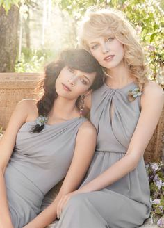 Beautiful grey bridesmaids dresses Jim Hjelm