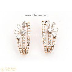 Diamond Earrings for Women in 18K Gold VVS Clarity E-F Color -Indian Diamond Jewelry -Buy Online Diamond Earrings For Women, Diamond Dangle Earrings, Diamond Earing, Women's Earrings, Diamond Jewelry, Indian Wedding Jewelry, Indian Jewelry, Diamond Jhumkas, Designer Earrings