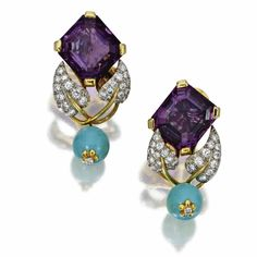 Tiffany & Co. Pair of Gold, Platinum, Amethyst, Turquoise and Diamond Earclips, Schlumberger, Monture, 1947