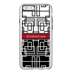 Modern Geometric Squares Black White and Red Incipio Feather Shine iPhone 6 Case