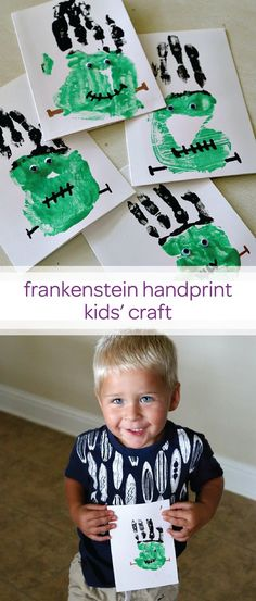 I pinned because my grandsons would like to do this plus the little boy in the picture is adorable! 👉🏼 This Frankenstein handprint kids' craft is not only a cute Halloween decoration, it will be a keepsake you'll cherish for many years to come! Diy Halloween, Halloween Art Projects, Cute Halloween Decorations, Halloween Crafts For Kids, Holidays Halloween, Halloween Themes, Halloween Activities For Toddlers, Preschool Halloween, Halloween Labels