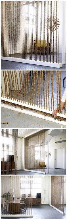 DIY Rope Wall. Awesome idea for an office or anywhere a divider wall is needed