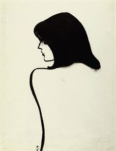 White with black lines, simple image of a woman by Rene Gruau