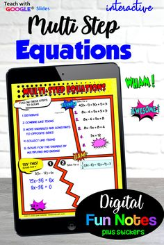 Doodle Notes™ gone digital! Your students will love these guided digital notes on Multistep equations. There are three pages of notes and practice with digital stickers to embellsh them. These are printable for in-class students also. #iteachalgebra #digitalalgebra