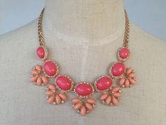 Gold & Pink Stone Statement Necklace, Beadwork Flower Necklace, Crystal Bib Necklace