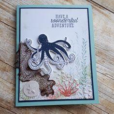 Sea of Textures octopus, Under the Sea framelits; copper mesh trim net, Dazzling Diamonds glimmer paper fishies