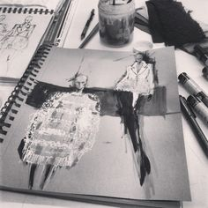 Fashion Sketchbook - drawings with ink & paint; monochrome, arty - Peter Do