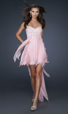 Sexy Pink Beaded Bodice High Low Prom Dress