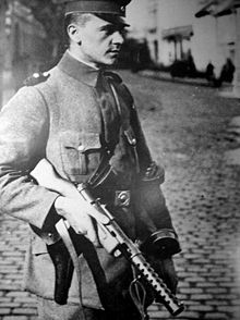 The firepower of this new class of weapons made such an impression on the Allies that the Treaty of Versailles specifically banned further study and manufacture of such light automatic firearms by Germany.(photo)Berlin 1919.