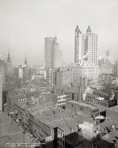 Two tallest buildings in New York in 1901, Vintage Photo