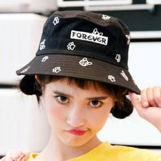 ccb2b9f2a79 French Bulldog bucket hat for girls forever letter embroidered hats