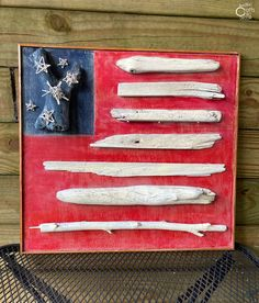 DIY Wood Flag Using Driftwood - Rustic Crafts & Chic Decor Wood Flag, Traditional Fabric, Rustic Crafts, Picture Hangers, July Crafts, Rustic Style, Craft Stores, Fun Projects, Driftwood