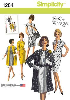 Misses'/Miss Petite Dress and Unlined Coat or Vest in Two Lenghts Simplicity Pattern 1284