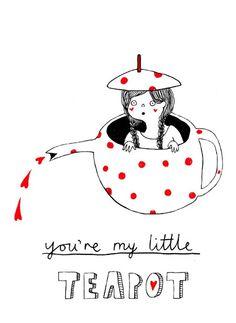 Little Teapot  Postcard by heidiburton on Etsy