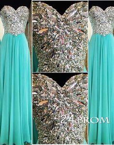 Sweetheart Green A-line Chiffon Long Prom Dresses, Formal Dresses – 24prom #prom #promdress #dress #formal #evening #formaldress #promdresses