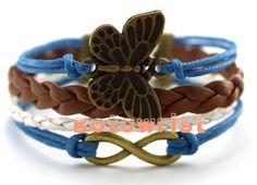 Bronze Infinity Butterfly Bracelet Wax Cords Leather by gotowrist, $3.99