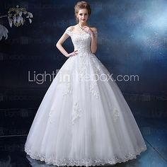 Ball Gown Wedding Dress - Ivory Floor-length Off-the-shoulder Satin / Tulle - USD $159.99