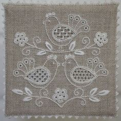 Hardanger Embroidery, White Embroidery, Embroidery Thread, Cross Stitch Embroidery, Embroidery Patterns, Machine Embroidery, Drawn Thread, Thread Painting, Embroidery Techniques
