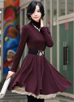 Korean Style Chic Show Body Red Dresses  Item Code:#QQ88216+Red     Price: US$9.30  Shipping Weight: 0.4KG