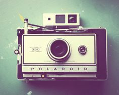 Camera Photograph - Land camera photograph - vintage camera - mint green white black silver - fine art photograph - retro wall art photo.