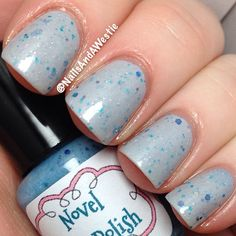 Novel Nail Polish 'Winds of Winter'. 2 coats, with topcoat. Thermal that goes from blue when cold, to light gray when warm. #nails #nailpolish #indiepolish #novelnailpolish #thermalpolish