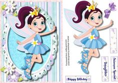 Fairy Tinkle  on Craftsuprint designed by Ceredwyn Macrae - A lovely card for any little girl to receive on her birthday Fairy tinkle a lovely card has three greeting tags and a blank one for you to choose the sentiment,  - Now available for download!