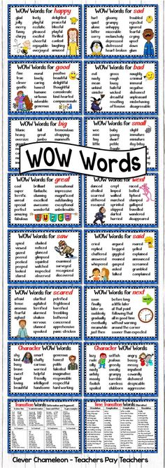 Other ways to say Said Went Scared Big Small Sad Happy Saw Next Great Good Bad Positive Character Words Negative Character Words Time Transition Words for Narratives and. English Writing, English Words, English Lessons, Teaching English, Learn English, English Language, English Grammar, Teaching Writing, Writing Skills