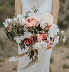Beautiful Lush Bridal Bouquet Showcasing: Peach/Coral/White Florals + Greenery & Foliage ~~