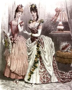 Two 1886 Victorian ball gowns featuring trained skirts supported by bustles.