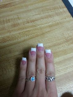 Pink and white nails Camo Acrylic Nails, French Tip Acrylic Nails, White Tip Nails, Pink Nails, Nail French, French Tips, Glitter Nails, Toe Nails, Uv Gel Nails