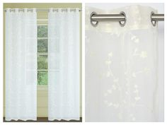 Tiffany Faux Embroidered Floral Sheer Grommet Drapes. Panel light filtering fabric allows just the right amount of light in. Grommet top panels showcases a faux embroidered florals. Delicate and romantic, Tiffany panels are the perfect finishing touch.