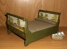 Dollhouse Miniature Hand Painted Folk Prim Sleigh Bed Nightstands L Lassige | eBay