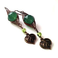 Wire Wrapped Green Aventurine Herringbone Style by EmeraldPine  www.EmeraldPine.etsy.com